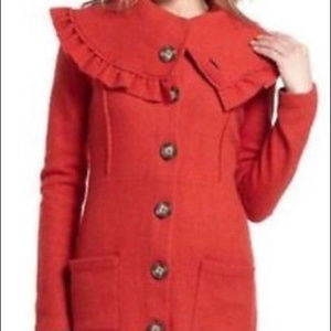 HWR Burnt Orange sweater Coat Anthropologie M wool